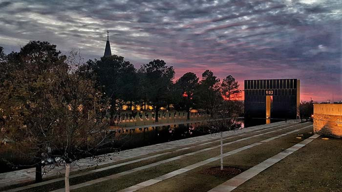 The Oklahoma City National Memorial at dusk