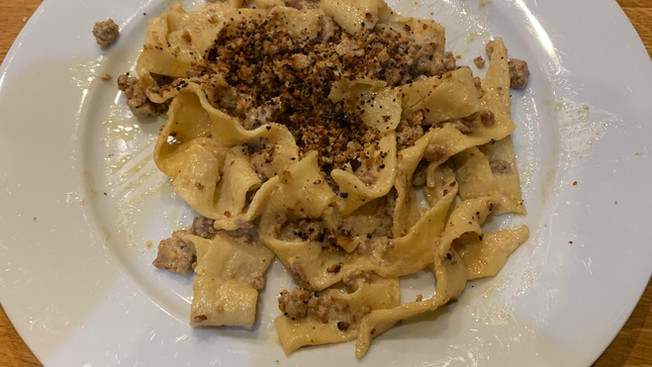Cook-a-long Creamy Sausage & Mustard Papardelle with Pangritata