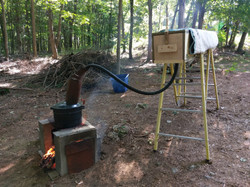 Wood steaming set-up