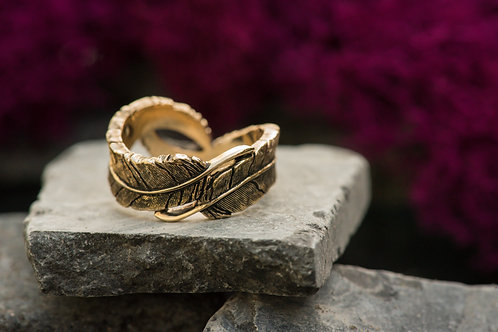 Antiqued Yellow Gold Feather Ring