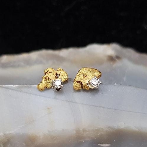 Natural Gold Nugget Studs w/Diamond