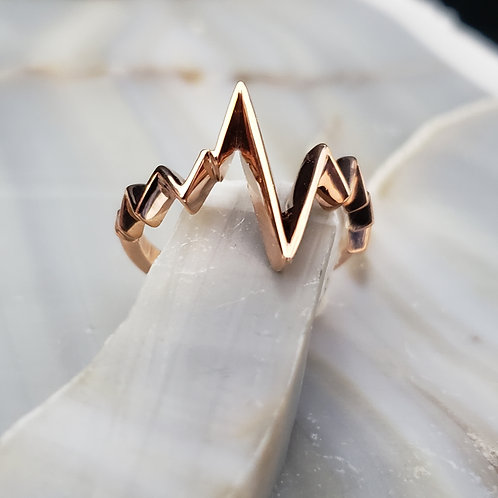 Rose Gold Heartbeat Ring