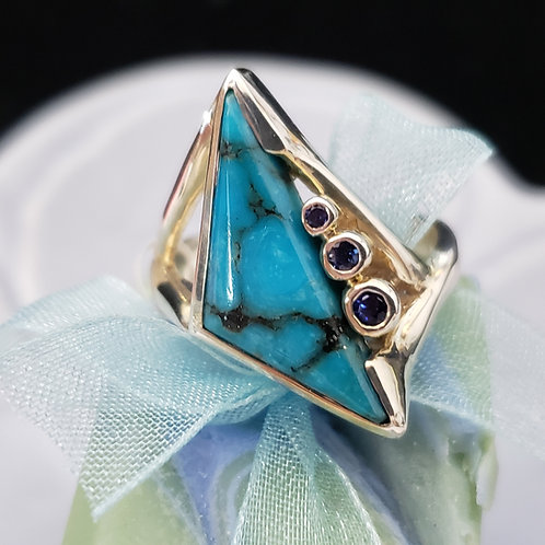 Turquoise Ring with Sapphires