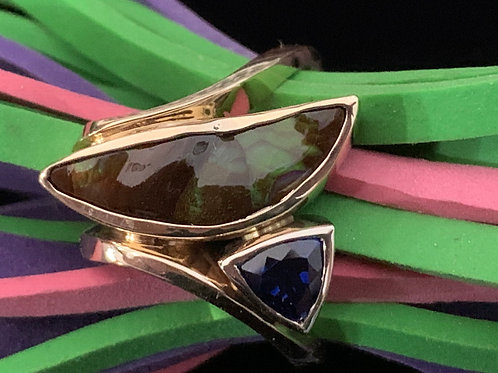 Yellow Gold Fire Agate and Sapphire Ring