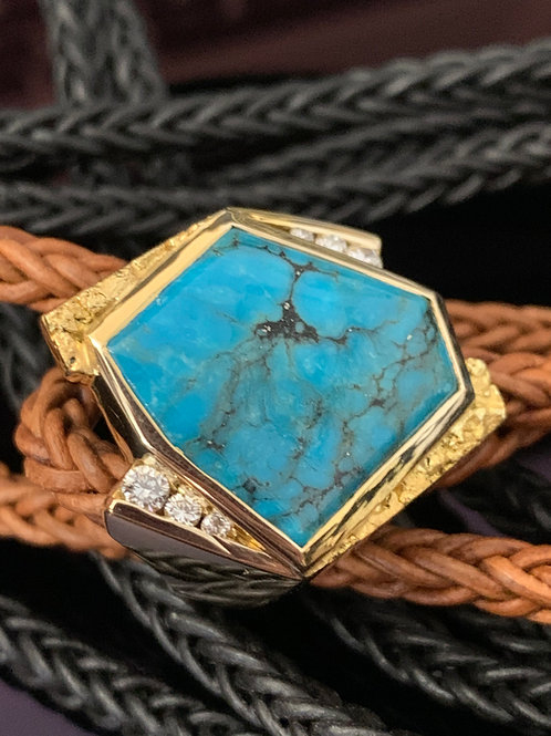 Turquoise and Gold Nugget Ring w/Diamonds