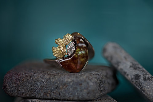 Fire Agate, Gold Nugget w/Diamond Ring