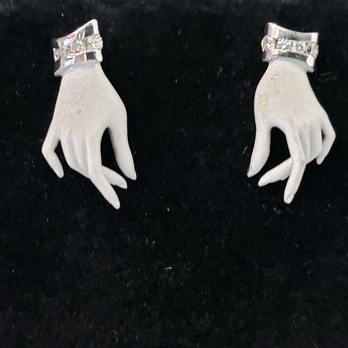 Hand Earrings with Diamond Cuff