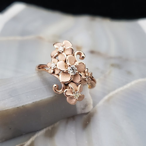 Flower Ring with Accent Diamonds