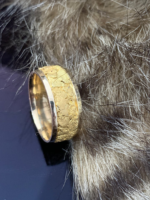 Yellow Gold with Gold Nugget Band