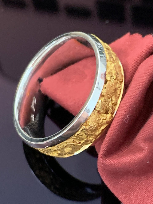 White Gold and Gold Nugget Band