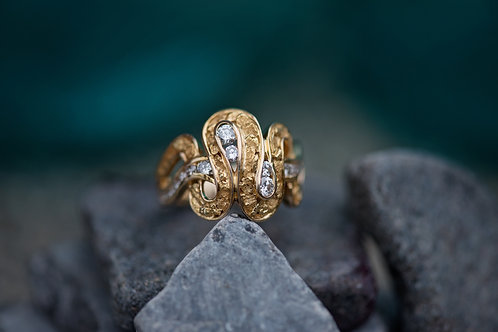 Diamonds and Gold Nugget Ring