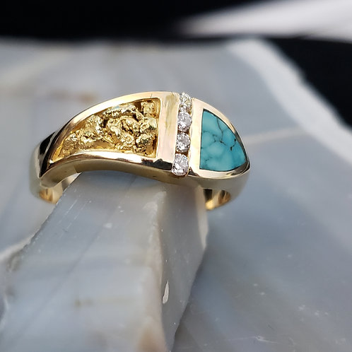 Turquoise, Nugget and Diamond Ring