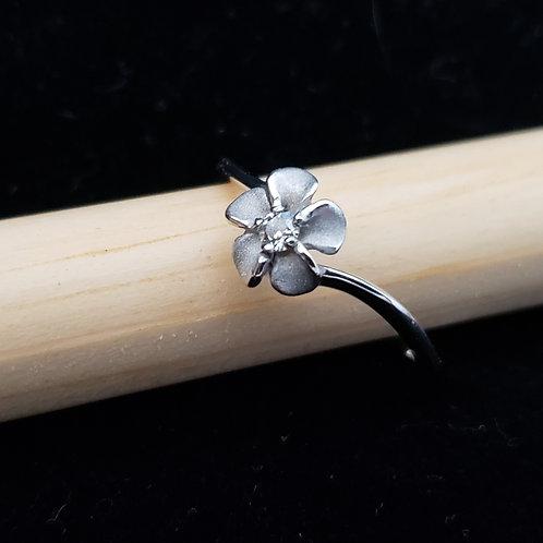 White Gold Flower Ring with Diamond Center
