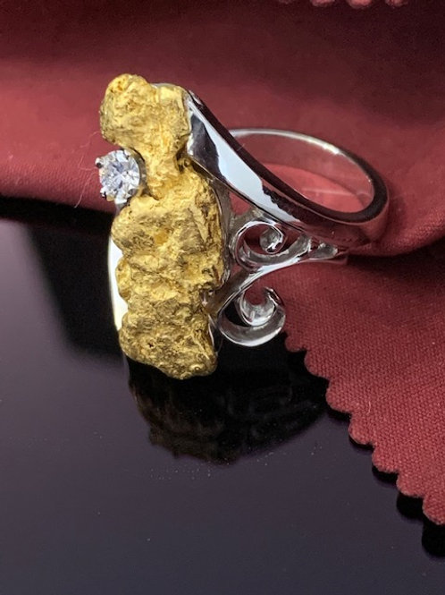 White Gold, Gold Nugget and Diamond Ring