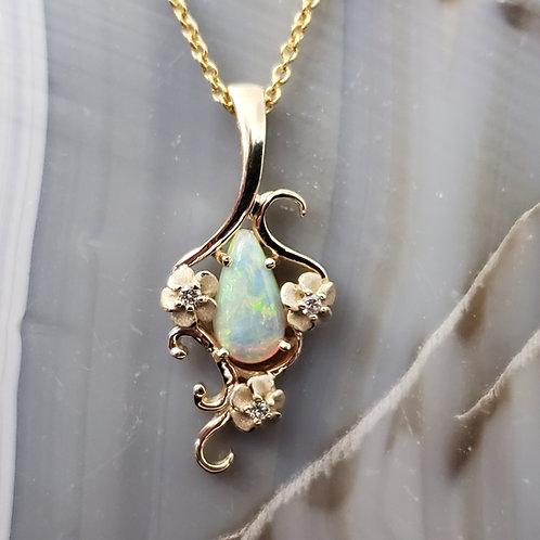 Opal Flower Pendant