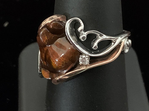 White and Rose Gold with Fire Agate and Diamond