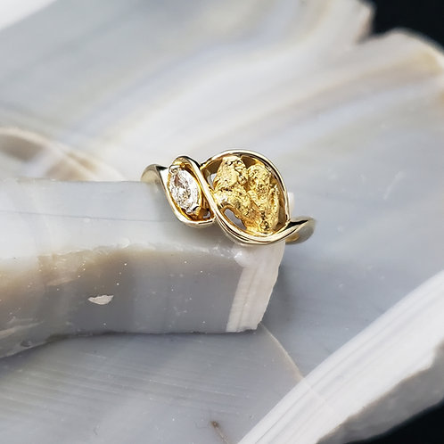 Gold Nugget with Diamond Ring
