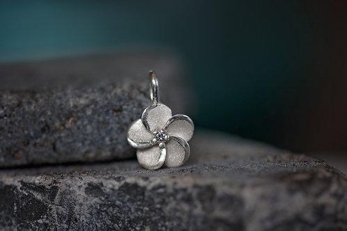 White Gold Flower Pendant w/Diamond Center