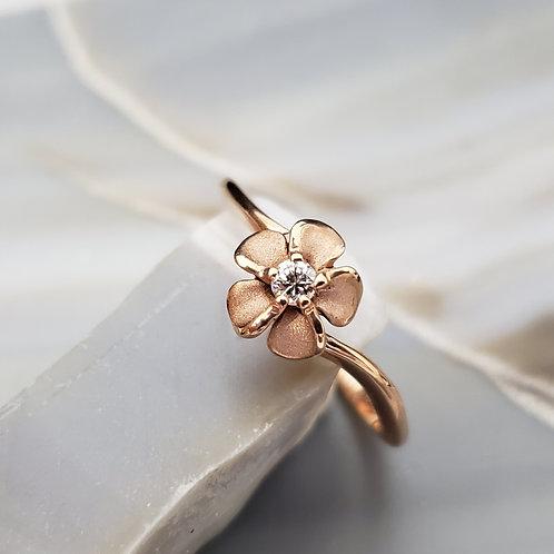 Rose Gold Flower Ring w/Diamond Center
