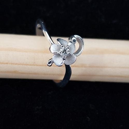 White Gold Flower Swirl Ring with Diamond Center