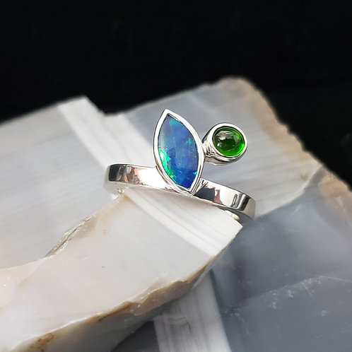 Opal and Chrome Diopside Ring