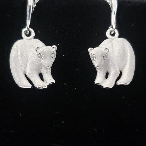 White Gold Polar Bear Earrings