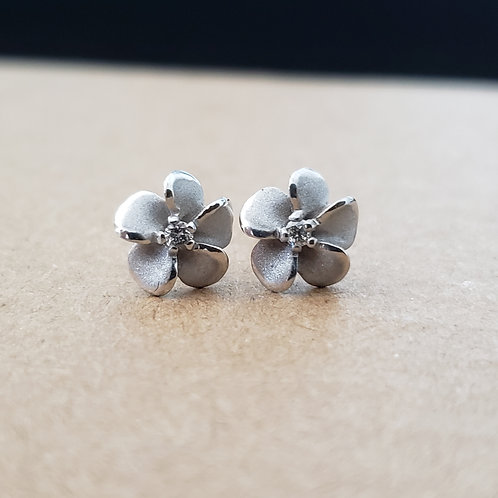 White Gold Flower Earrings with Diamond Center