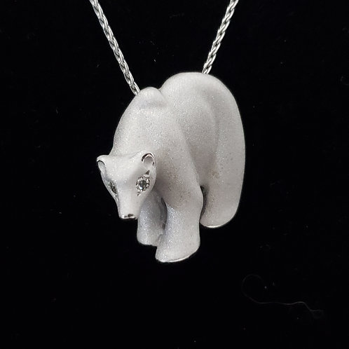 White Gold Polar Bear Pendant