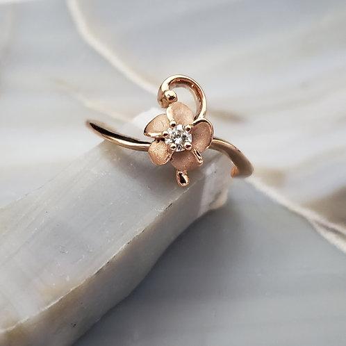 Rose Gold Flower Swirl w/Diamond Center Ring