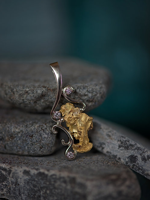 White Gold, Gold Nugget  w/ Diamonds Pendant