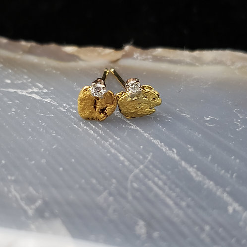 Natural Gold Nugget Studs w/Diamond