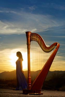 Harp and sunset