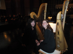 Two harps on stage