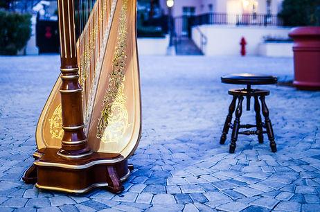 Harp on cobblestones