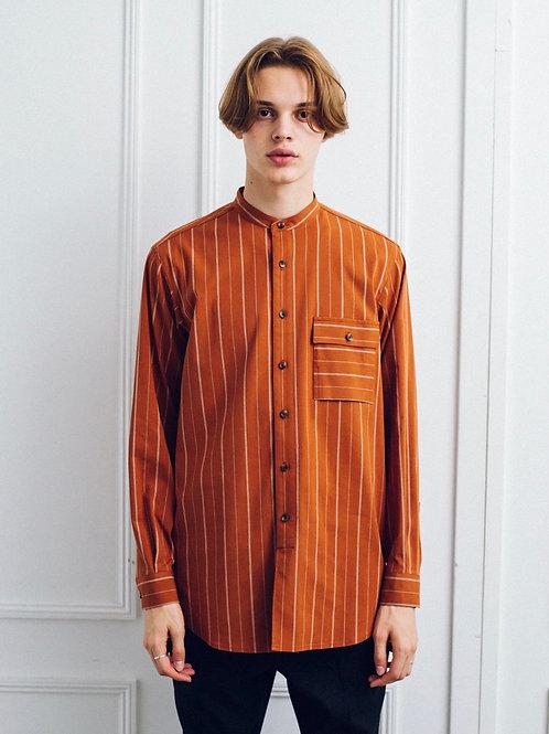 Stripe Band Collar Long Shirt