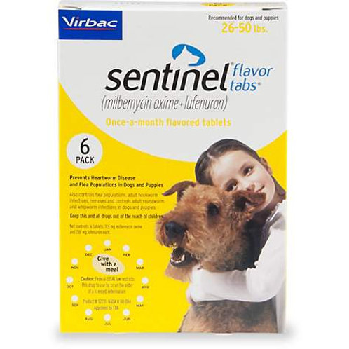 Sentinel 26-50 pounds 6-month supply