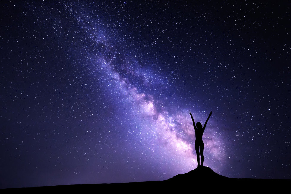 Landscape with purple Milky Way. Night s