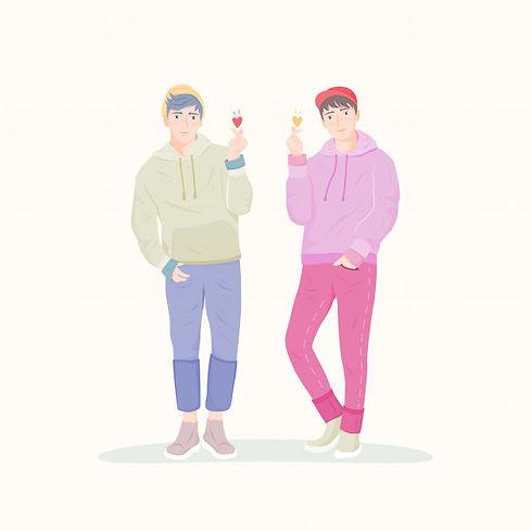 k-pop-happy-asian-men-doing-finger-heart