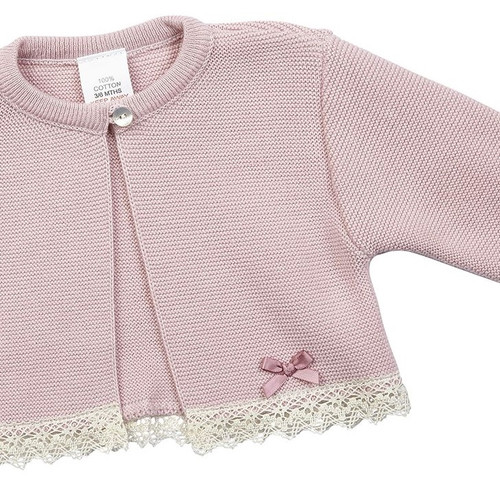 14984e861a59a Dandelion Girls  Pink Cotton Bolero with Lace Trim