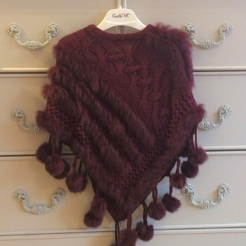 COUCHE TOT Girls Pom Pom Poncho - Burgundy