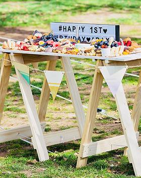 Fox Meets Bear high trestle table