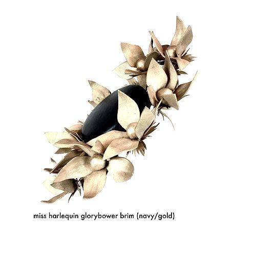 Miss Harlequin Glorybower Brim (navy / gold)