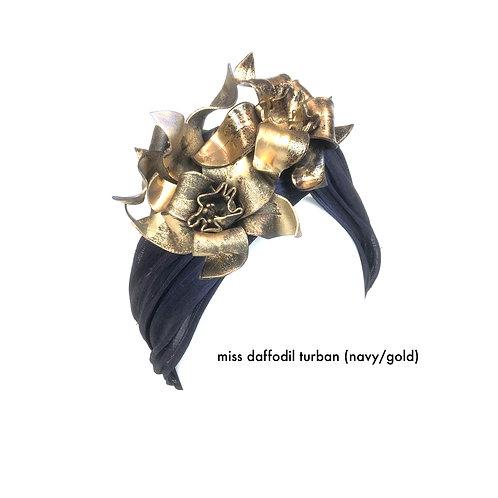Miss Daffodil Turban (navy / gold)