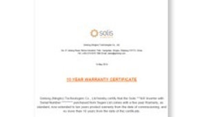 Solis 10 year warranty ( 5years extension)
