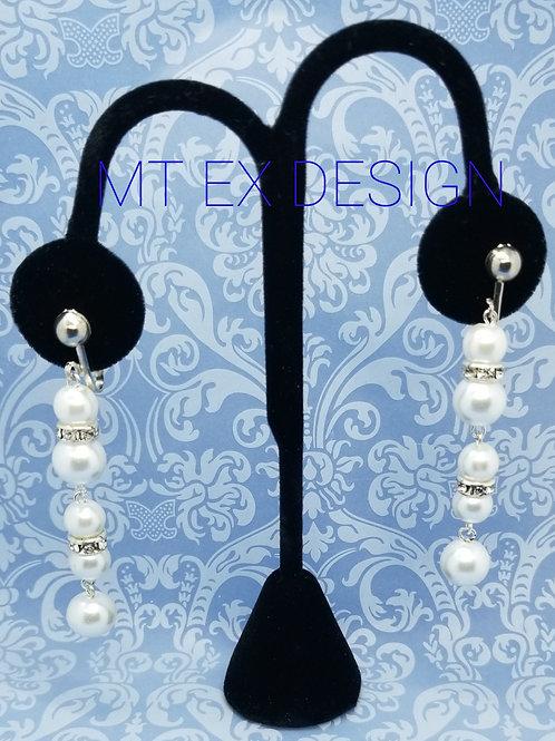 Five Pearl Earrings-Clip On
