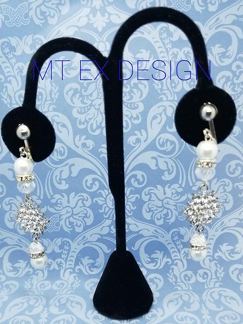 Pearl Bling Earrings-Clip On