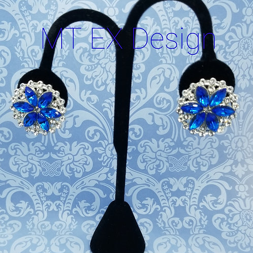 Blue Star Earrings-Clip On