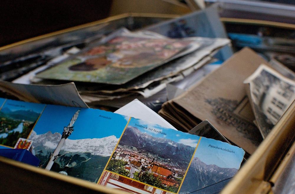 Box of family history materials