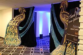 corporate dinner, custom dinner party, blue, gold, event decor divas denver, jennifer lane events, , custom event decor, classy event decor, wedding decor