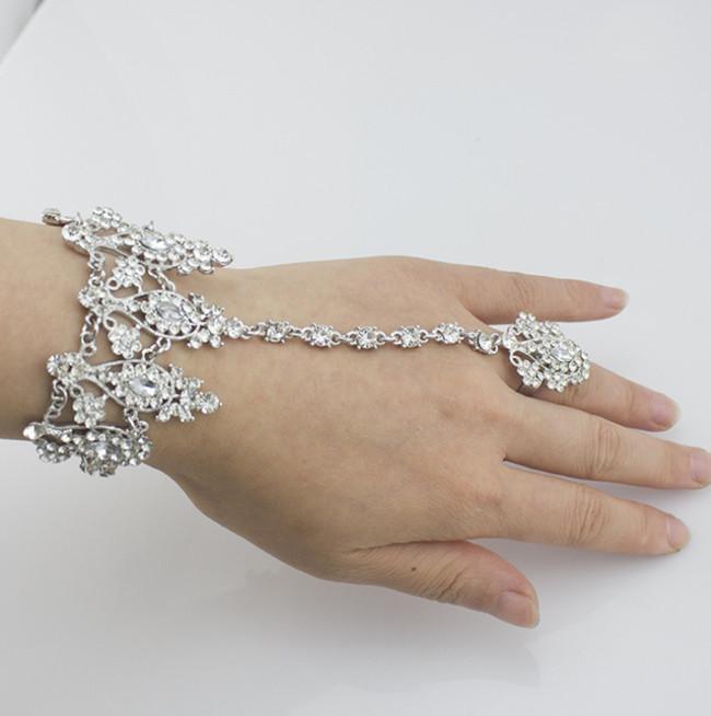 Bridal=wedding-accessories-chain-bracelet-jewelry-rhinestones-bracelets-for-women-silver-plated